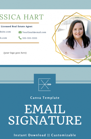 Email Signature Template – Gold Frame