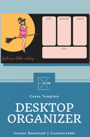 October Desktop Organizer Template- Witchy Fun